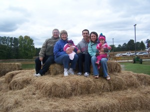 Everyone on the Hay Mountain at the Farm